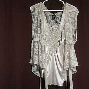 tank top with lace cover